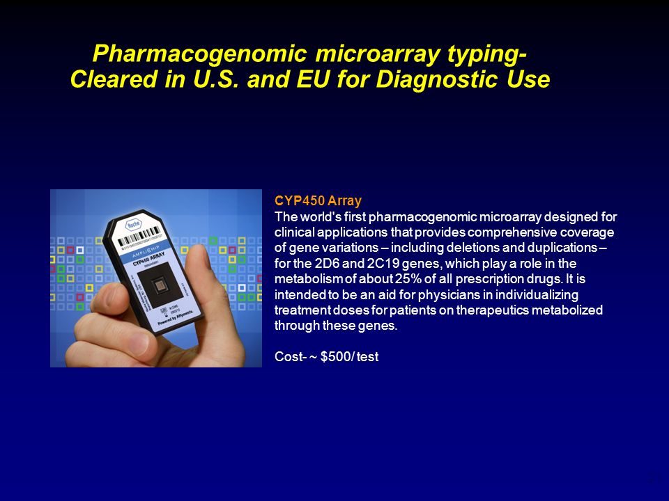 Pharmacogenomic microarray typing- Cleared in U. S