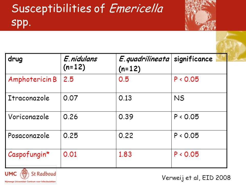 Susceptibilities of Emericella spp.
