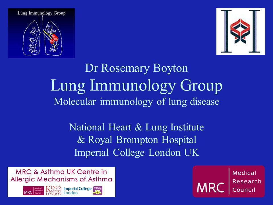 Dr Rosemary Boyton Lung Immunology Group Molecular immunology of lung disease National Heart & Lung Institute & Royal Brompton Hospital Imperial College London UK