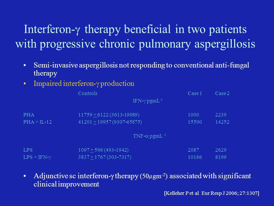 Interferon-g therapy beneficial in two patients with progressive chronic pulmonary aspergillosis