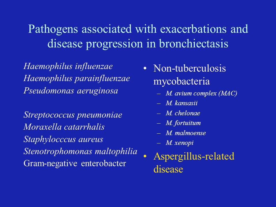 Pathogens associated with exacerbations and disease progression in bronchiectasis