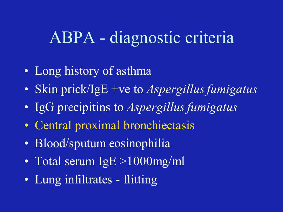 ABPA - diagnostic criteria