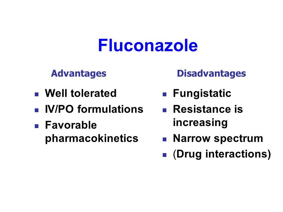 Fluconazole Well tolerated IV/PO formulations