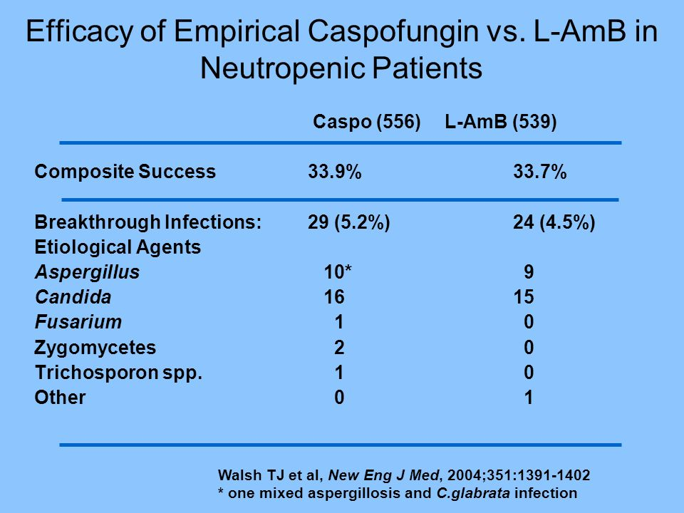 Efficacy of Empirical Caspofungin vs. L-AmB in Neutropenic Patients