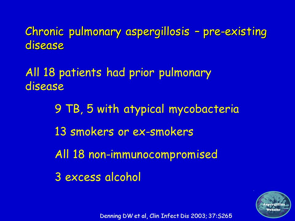 Chronic pulmonary aspergillosis – pre-existing disease