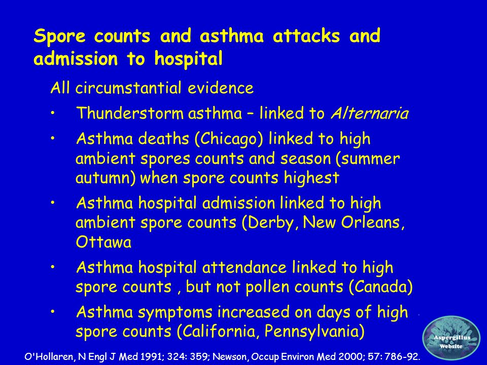 Spore counts and asthma attacks and admission to hospital