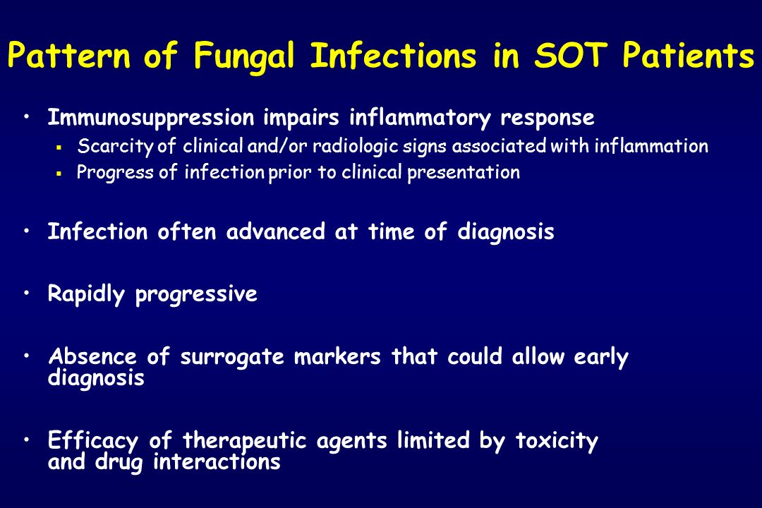 Pattern of Fungal Infections in SOT Patients