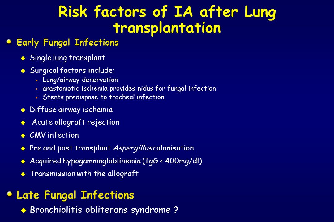 Risk factors of IA after Lung transplantation