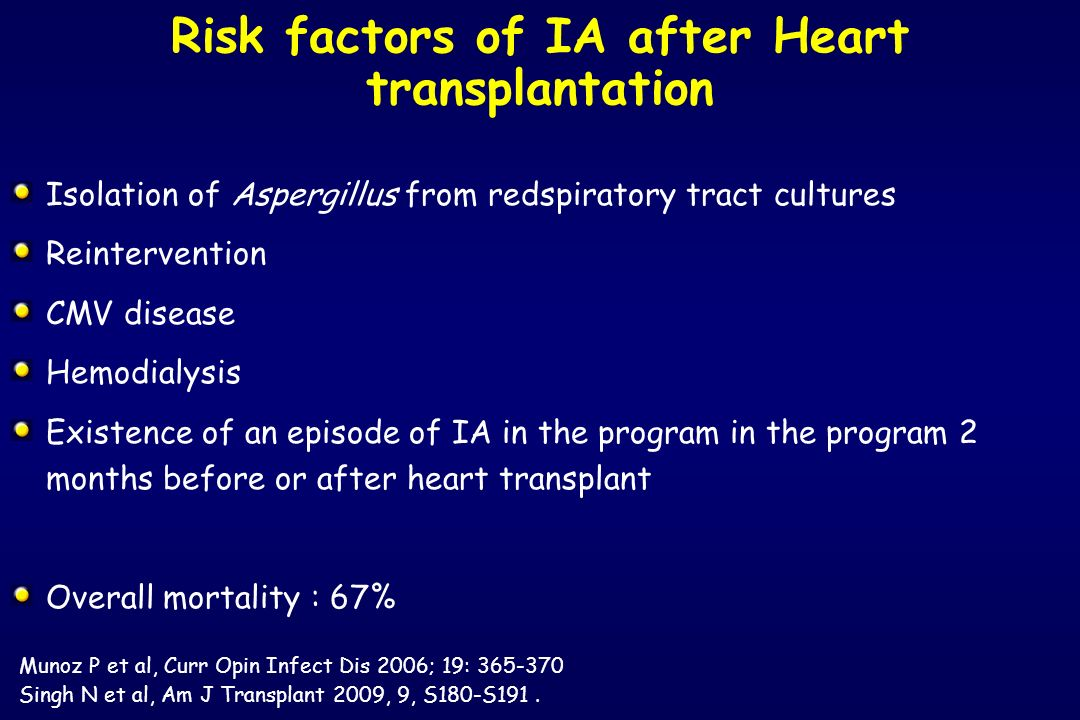 Risk factors of IA after Heart transplantation