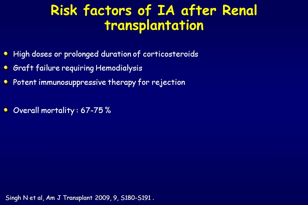 Risk factors of IA after Renal transplantation