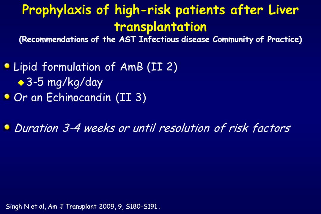 Prophylaxis of high-risk patients after Liver transplantation (Recommendations of the AST Infectious disease Community of Practice)
