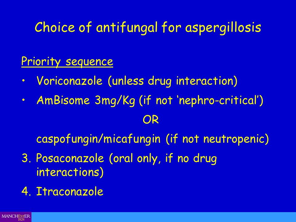 Choice of antifungal for aspergillosis