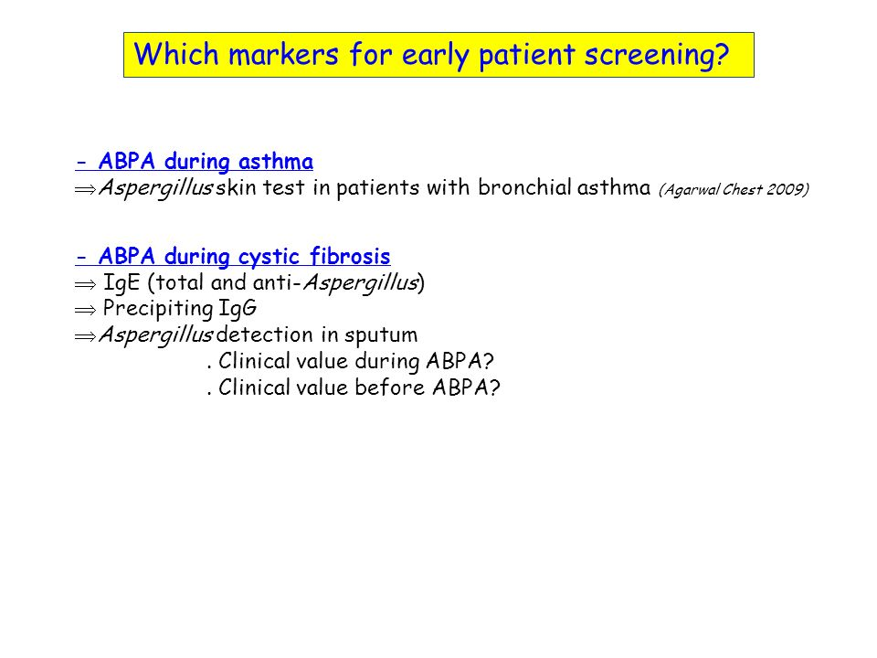 Which markers for early patient screening