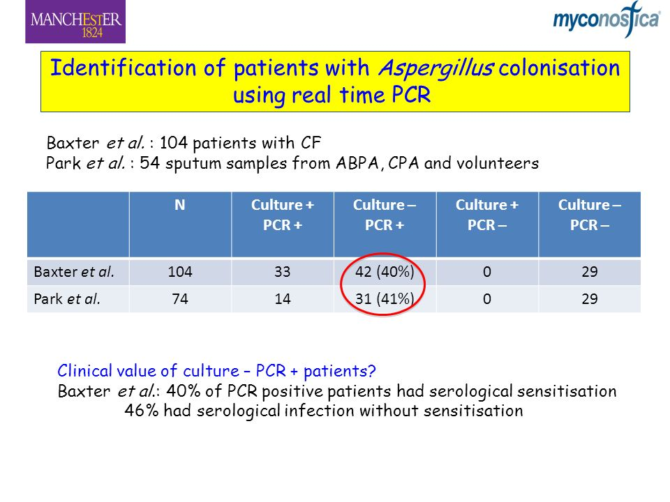 Identification of patients with Aspergillus colonisation using real time PCR