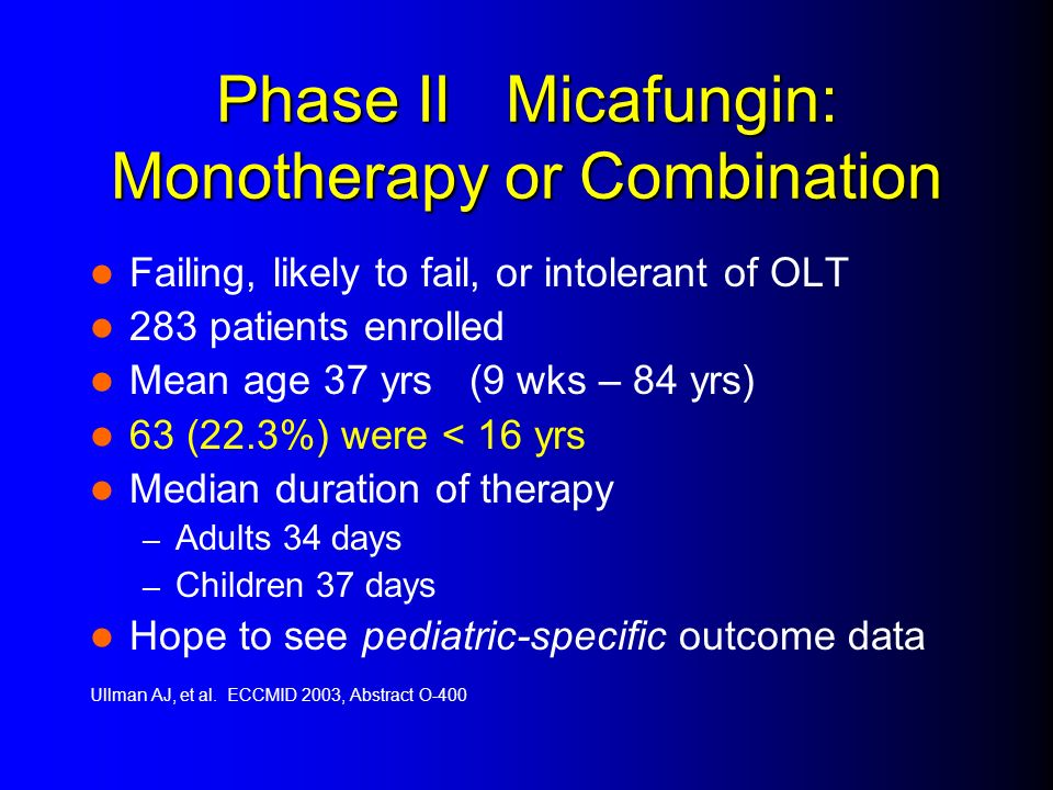 Phase II Micafungin: Monotherapy or Combination