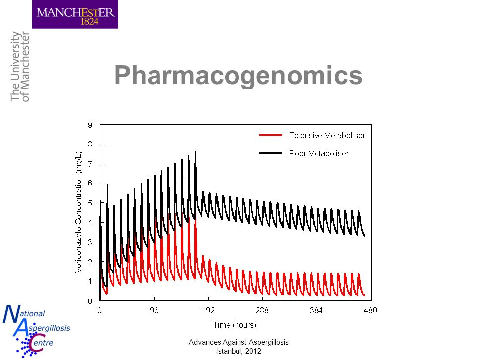 Pharmacogenomics CYP2C19 status makes a big difference to voriconazole levels, but only accounts for a small portion of observed variance.
