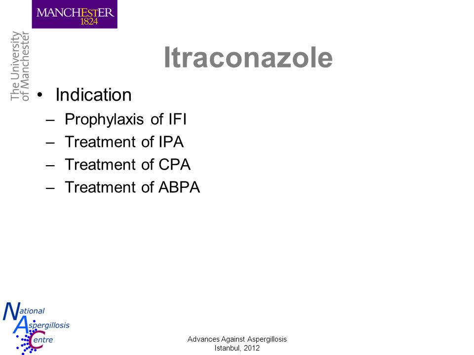 Itraconazole Indication Prophylaxis of IFI Treatment of IPA