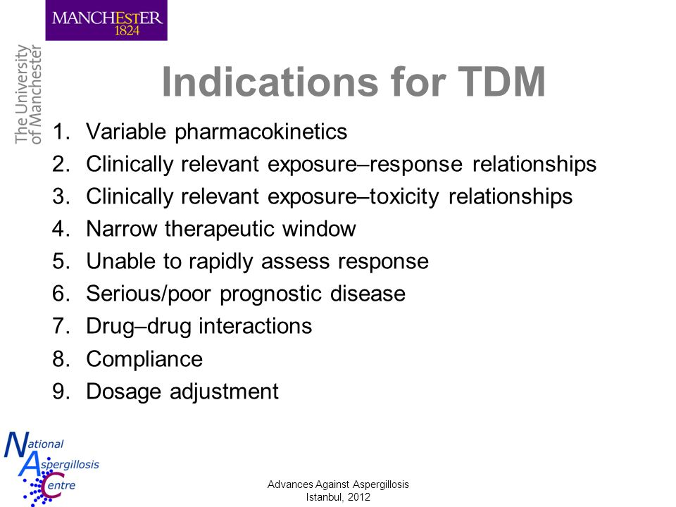 Indications for TDM Variable pharmacokinetics