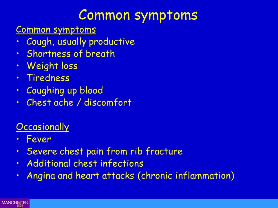 Common symptoms Common symptoms Cough, usually productive