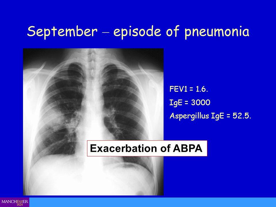 September – episode of pneumonia