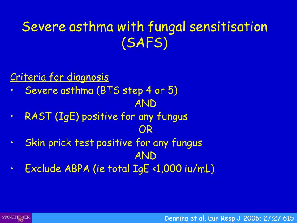 Severe asthma with fungal sensitisation (SAFS)