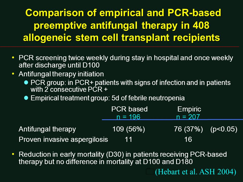 Comparison of empirical and PCR-based preemptive antifungal therapy in 408 allogeneic stem cell transplant recipients