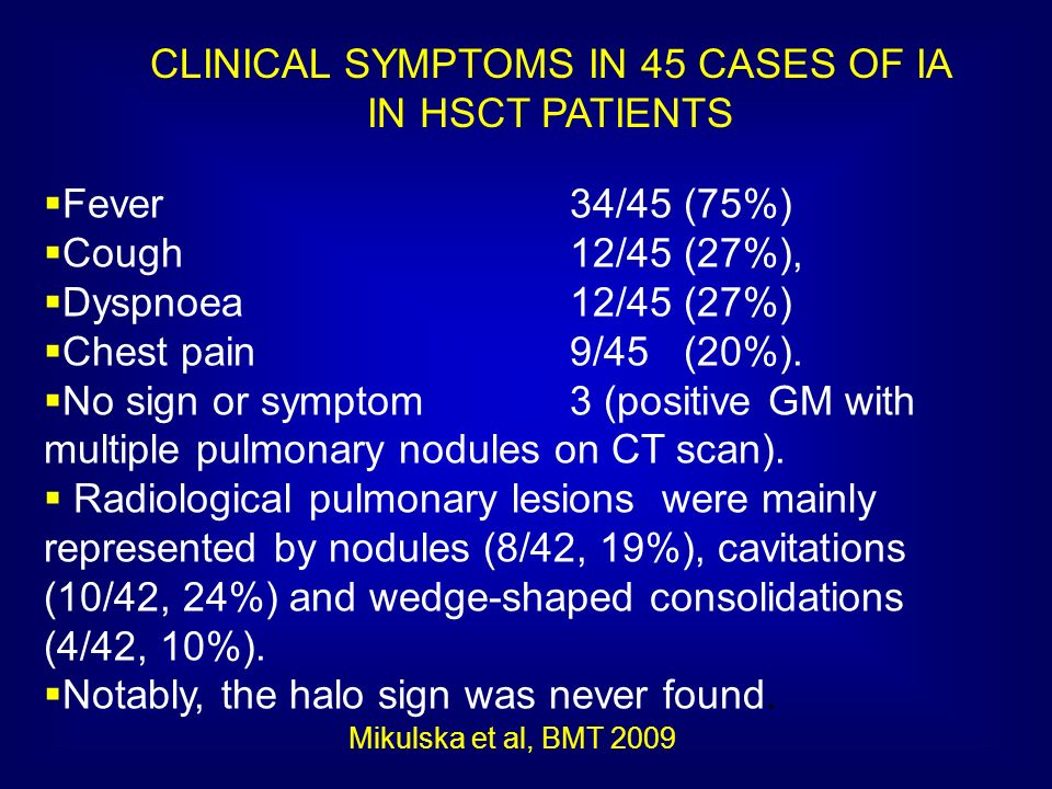CLINICAL SYMPTOMS IN 45 CASES OF IA IN HSCT PATIENTS