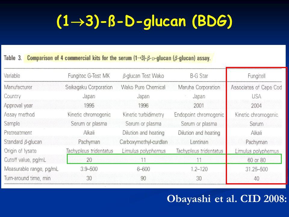 (13)-ß-D-glucan (BDG) Obayashi et al. CID 2008: 46 (15 June)