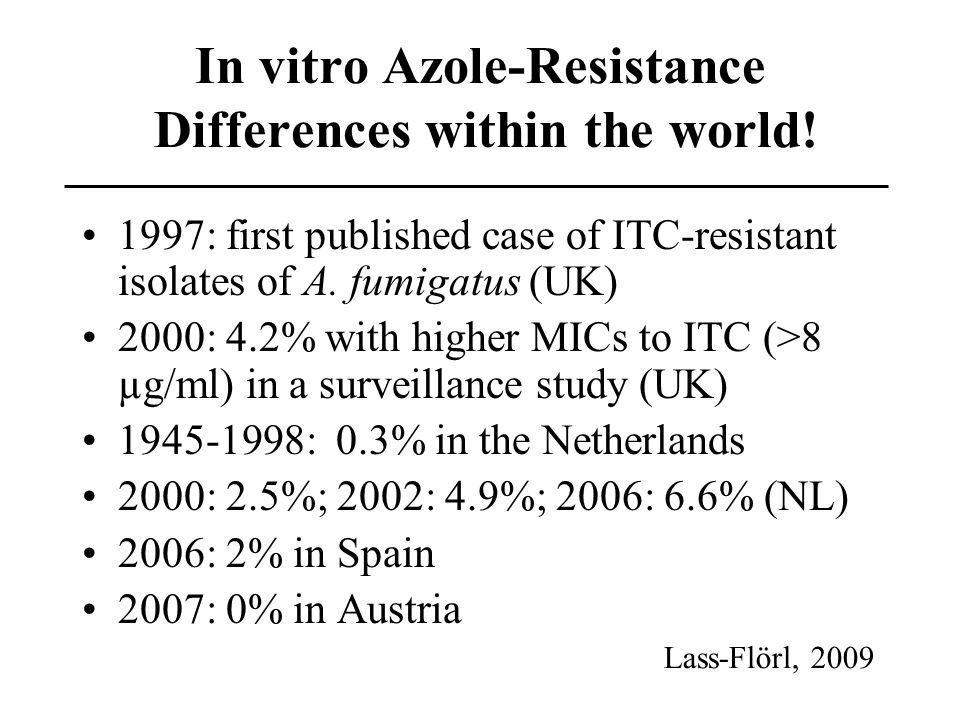 In vitro Azole-Resistance Differences within the world!