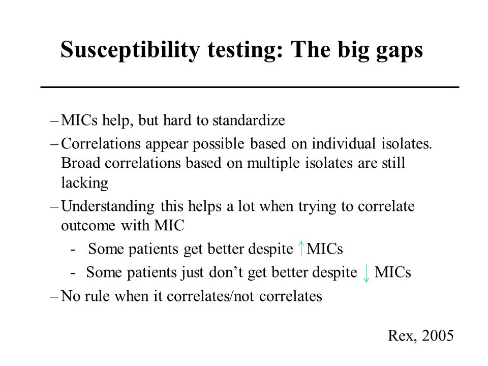 Susceptibility testing: The big gaps