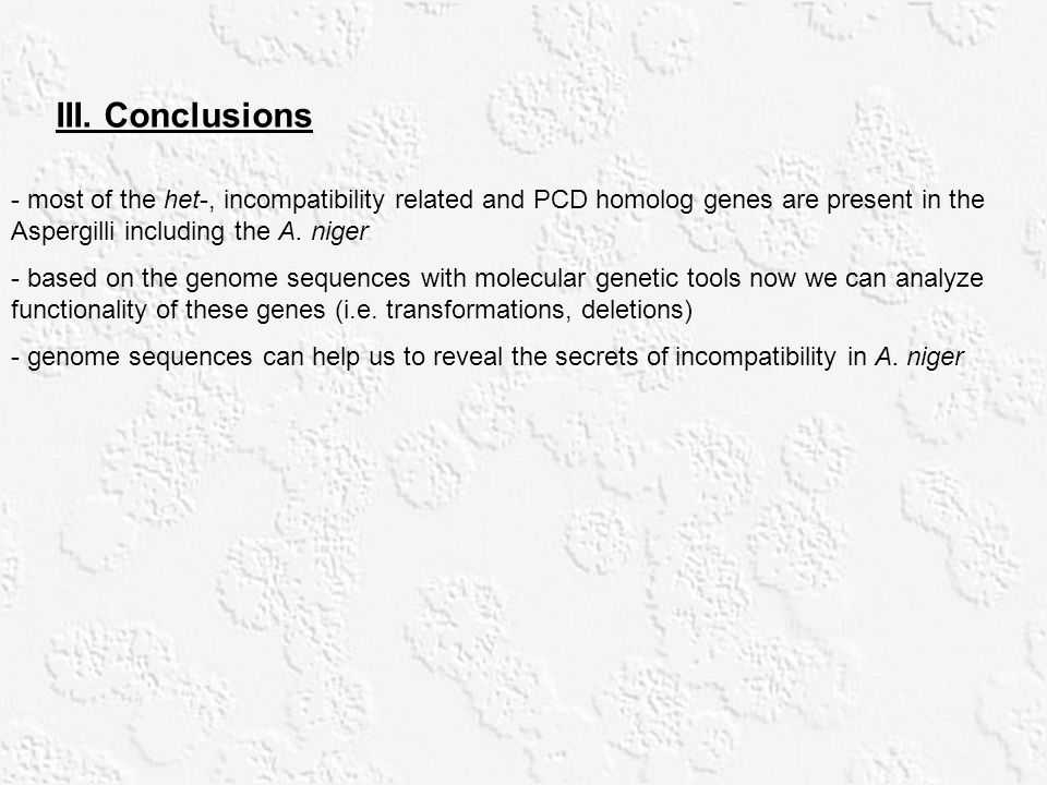 III. Conclusions - most of the het-, incompatibility related and PCD homolog genes are present in the Aspergilli including the A. niger.