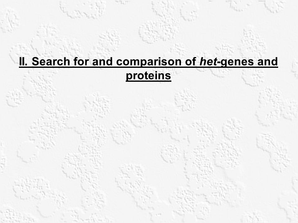 II. Search for and comparison of het-genes and proteins