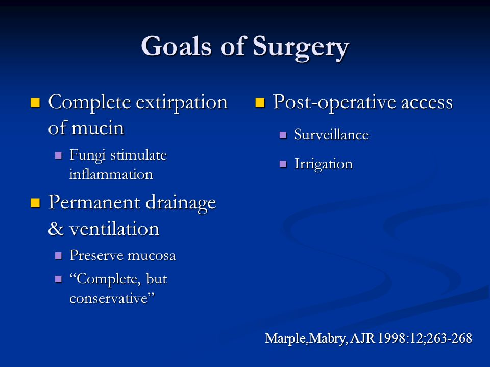 Goals of Surgery Complete extirpation of mucin