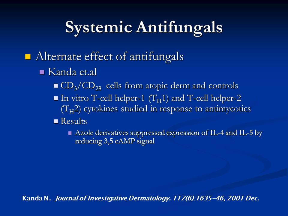 Systemic Antifungals Alternate effect of antifungals Kanda et.al