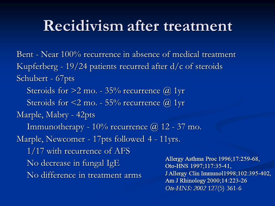 Recidivism after treatment