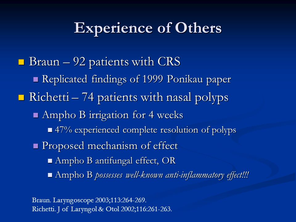 Experience of Others Braun – 92 patients with CRS