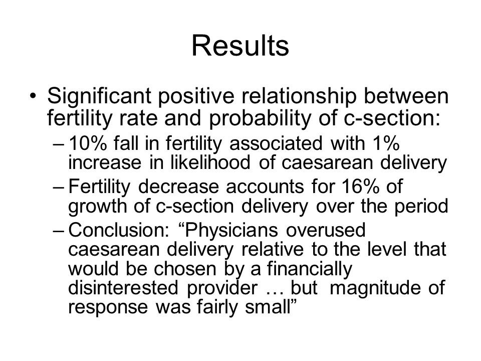 Results Significant positive relationship between fertility rate and probability of c-section: