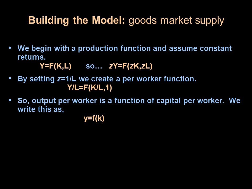 Building the Model: goods market supply