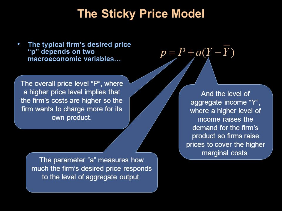 The Sticky Price Model The typical firm's desired price p depends on two macroeconomic variables…