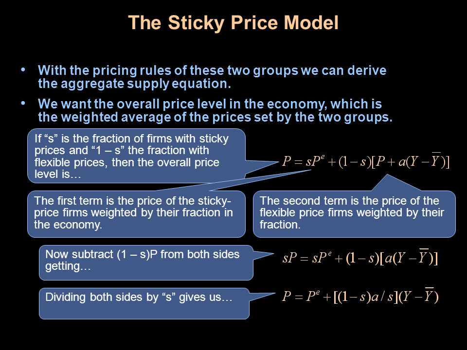 The Sticky Price Model With the pricing rules of these two groups we can derive the aggregate supply equation.