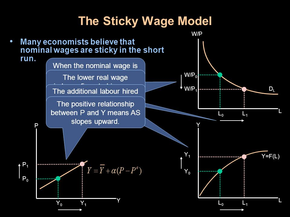The Sticky Wage Model W/P. Many economists believe that nominal wages are sticky in the short run.