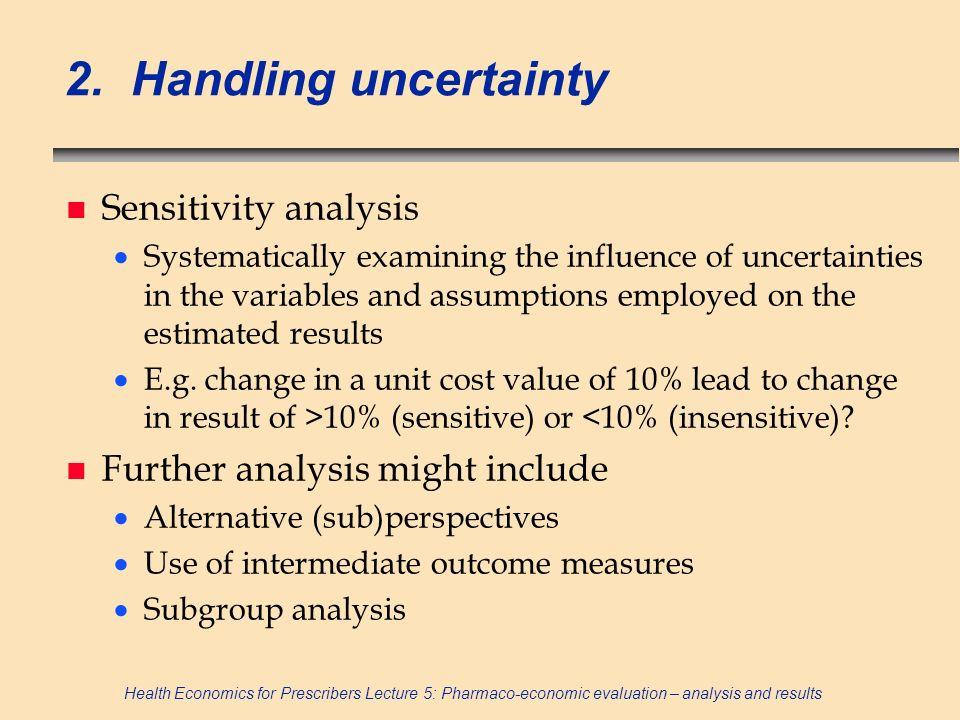 2. Handling uncertainty Sensitivity analysis