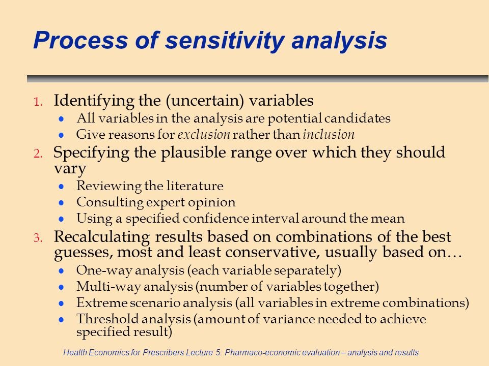 Process of sensitivity analysis