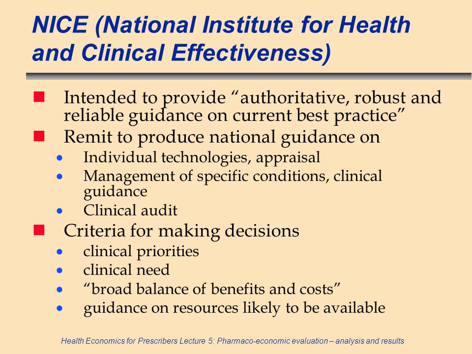 NICE (National Institute for Health and Clinical Effectiveness)