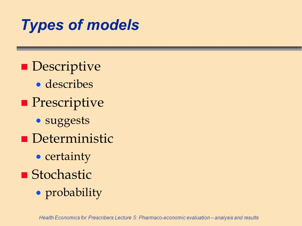 Types of models Descriptive Prescriptive Deterministic Stochastic