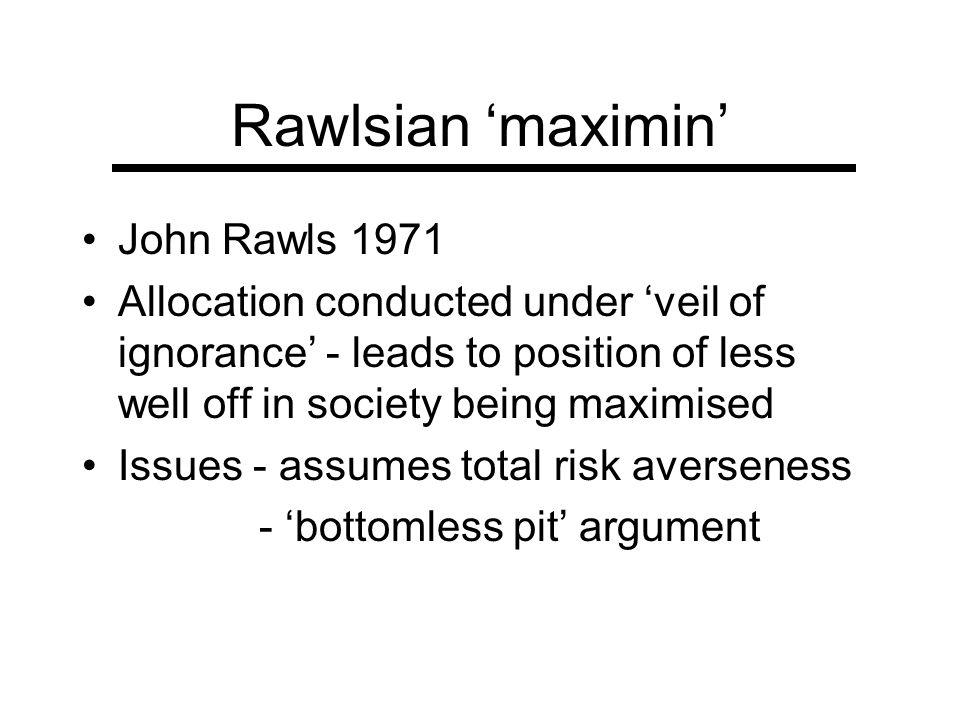 Rawlsian 'maximin' John Rawls 1971