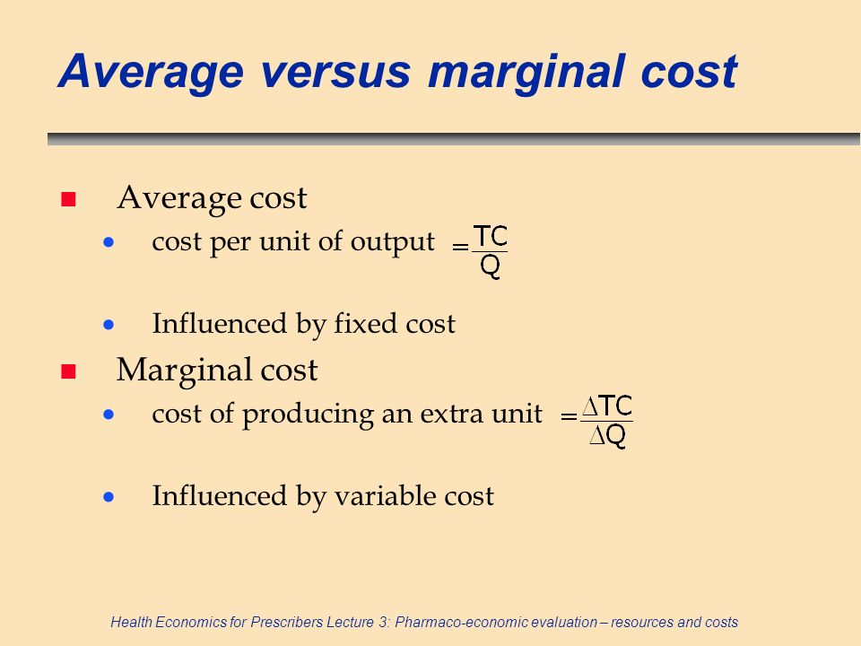 Average versus marginal cost