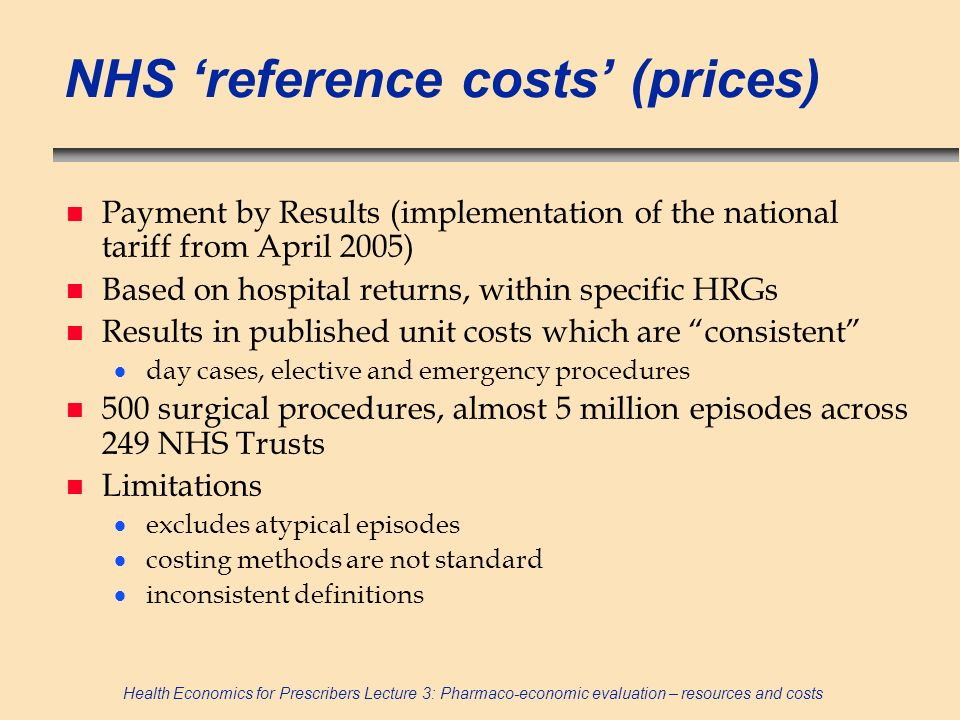 NHS 'reference costs' (prices)