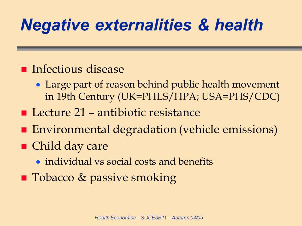 Negative externalities & health