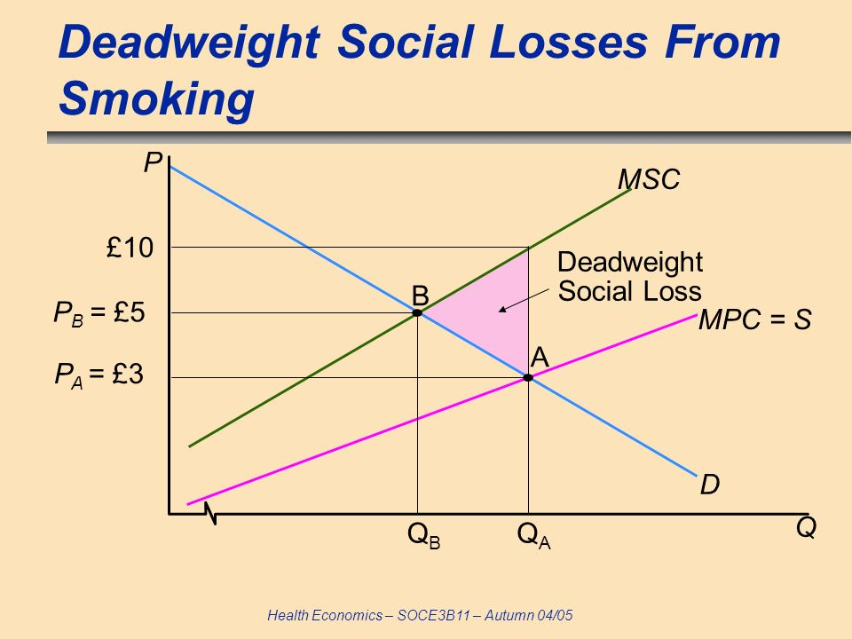 Deadweight Social Losses From Smoking
